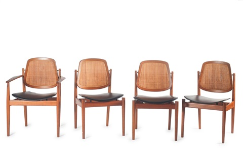 Two Fd 186 Armchairs And 6 Fd 185 Chairs By Arne Vodder