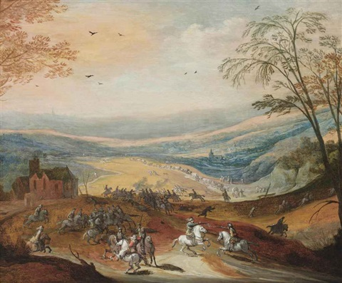 a cavalry skirmish in a hilly landscape a convoy beyond by peter snayers and joos de momper ii