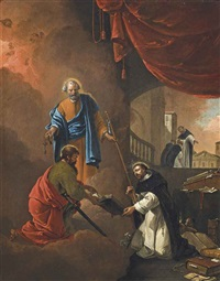 the vision of saint dominic, with saint dominic blessing two missionary friars beyond by thomas wijck