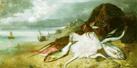 fish by the shore by francois germain leopold tabar(t)