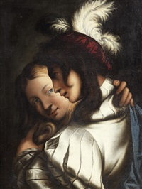 a young man in a plumed hat with a young woman by pietro muttoni
