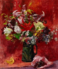 still life of tulips and lilies by mary nicol neill armour