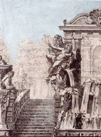 a design for a fountain beside a staircase, a park in the background by gilles-marie oppenort
