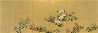 flowers of the four seasons by japanese school-rimpa (18)
