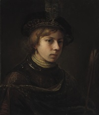 a tronie of a boy wearing a breastplate and a feathered cap, holding an arrow by samuel van hoogstraten