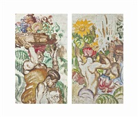 the fruit carrier; and flowers for the market: studies for the salle jacques cartier on the ss empress of britain (pair) by sir frank brangwyn