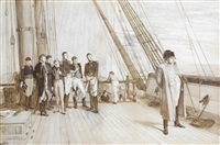 on board h.m.s. bellerophon, july 23rd. off cape ushant, leaving france by sir william quiller orchardson