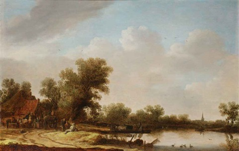 a river landscape with figures outside an inn by jan josefsz van goyen