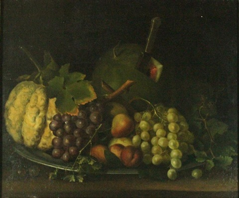 still life with melon by american school 19