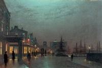 Vista nocturna de puerto