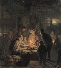 a poultry stall at an evening market by jan hendrik van grootvelt
