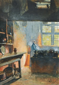 kitchen in the holy spirit hospital in wismar by otto heinrich engel