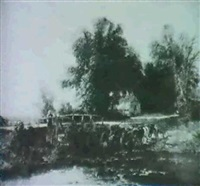 a logcart crossing a ford withchildren on a wooden bridge by joseph clayton bentley