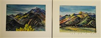 southwestern landscapes: mountains of new mexico (2 works) by marion huse