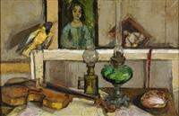 violon et lampes à pétrole by françoise adnet