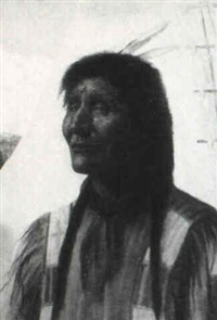 portrait of a native american, tee pee and mountains in the distance by alice coutts