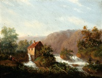figures by a watermill on a river by carl eduard ahrendts