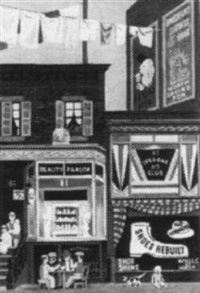 new york street scene with beauty parlor and shoe repair by witold gordon