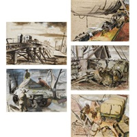 down she goes (+ 3 others; 4 works, various sizes) by robert henderson blyth