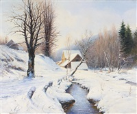 winter landscape by georgiy zakharovich bashinzhagyan
