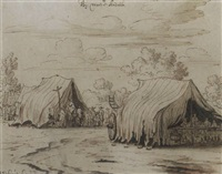 a military encampment near mont-saint-andré by josua de grave