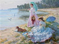 beach scene with two girls and their dog by aleksandr averin