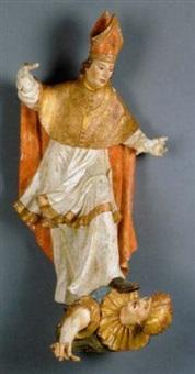 der heilige steht mit ausgebreiten armen auf dem ketzer tascheln by norbert von xanten