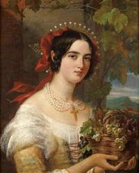 portrait de femme au panier de raisins by jules (jean-françois-hyacinthe) laure