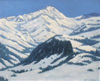 montagnes enneigées by georges victor laurent dantu