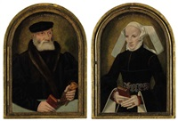 portrait of a gentleman with a glove and a book (+ a portrait of a lady holding a prayer book; 2 works) by bartholomäus (barthel) bruyn the younger
