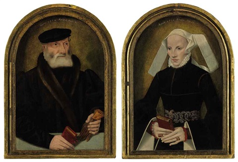 portrait of a gentleman with a glove and a book a portrait of a lady holding a prayer book 2 works by bartholomäus barthel bruyn the younger