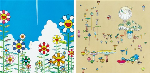 vapor trail making a u turn the lost child finds his way home set of 2 by takashi murakami