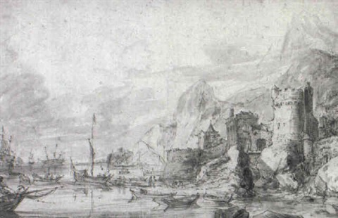 ships and boats by a rugged shore by jan abrahamsz beerstraten