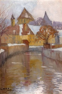 schlossanlage am kanal im winter by lajos gimes