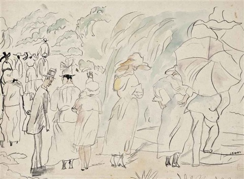personages dans un parc by jules pascin