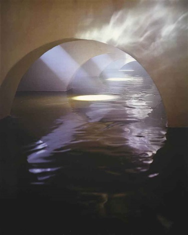 four flooded arches from right with fog by james casebere