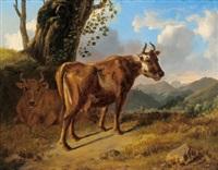 kühe in einer landschaft by johann nepomuk rauch