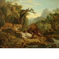 a lion and a tiger fighting over a stag by philipp reinagle