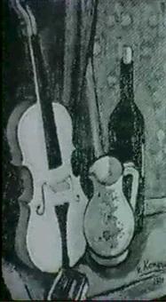stilleben,fiol,flaska,kanna by jurgen von konow