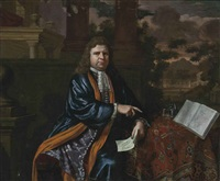 portrait of a gentleman, seated, three-quarter-length, in an embroidered waistcoat and a blue coat, by a draped table, a plan in his left hand, in a classical courtyard, a landscape beyond by constantyn netscher