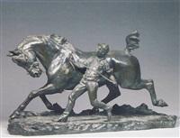 a bronze equestrian group by ludovico-marazhani auter