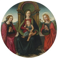 the madonna and child enthroned with saints mary magdalene and catherine by raffaelino del garbo