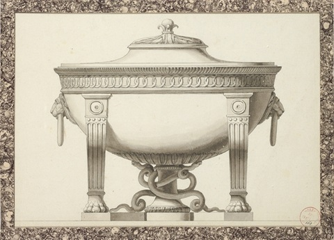 design for a tureen with lion's head handles by jean guillaume moitte