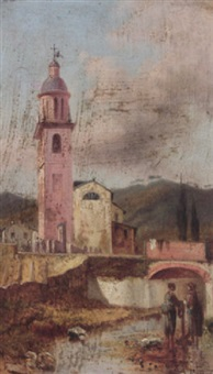 washerwomen before the church of st. john the baptist near spezia by andrea fossati