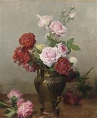 roses in a stone jug by gustave bienvetu