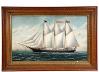 portrait of three-mast schooner jose olaverri by solon francis montecello badger