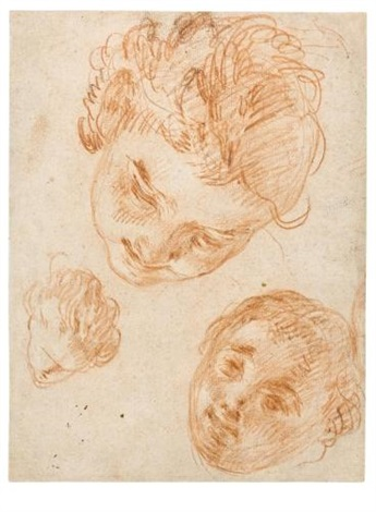 studies of three heads by noël nicolas coypel