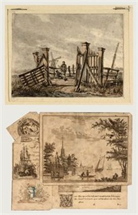 two boys resting on a wooden bridge in a landscape (+ 8 others; 9 works) by francois joseph pfeiffer the younger