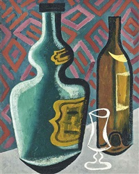 still life with bottles and glass by john banting