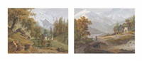 view of the alps from saint-gervais-les-bains, with the aiguilles de tré-la-tête (+ view of the alps from magland, with the north slope of the mont-blanc massif; pair) by jean-antoine linck